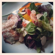 wild salmon and organic salad