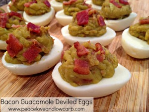 bacon guac deviled eggs from peace love and low carb